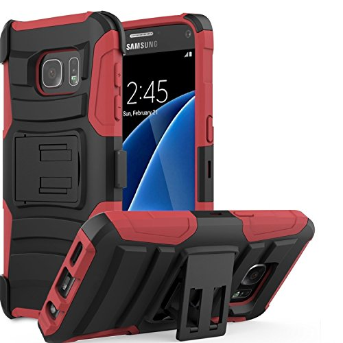 Samsung Galaxy S7 SM-G930 Tactical Armor Work Case Heavy Duty Shock Impact Protection Dual Layers with built-in Kickstand and Belt Clip Holster [SlickGearsTM] (Red)