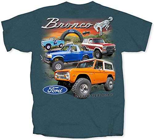Bronco Small Cotton Ford T-Shirt Midnight Blue Adult Men's Women's Short Sleeve T-Shirt