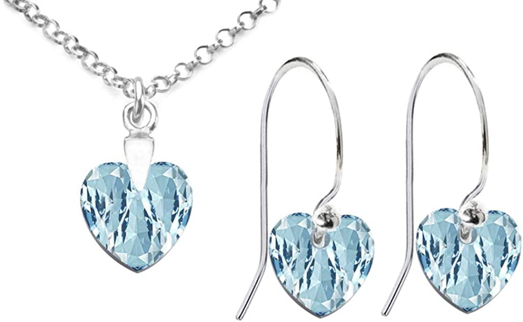 GIFT BOXED Stamped 925. Jewellery Ladies Eye Catching Sterling Silver 10mm Aquamarine Heart Crystal Fish Hook Earrings /& Necklace Set Ah