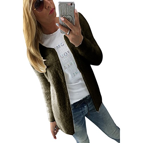 MIRRAY Outerwear Casual Girls Outwear Long Loose Womens Cardigan Front Army Knitted Large Green Winter Solid Size Autumn Long Open Fur Warm Jackets Coats Sleeve Neck O rPrAwqx5