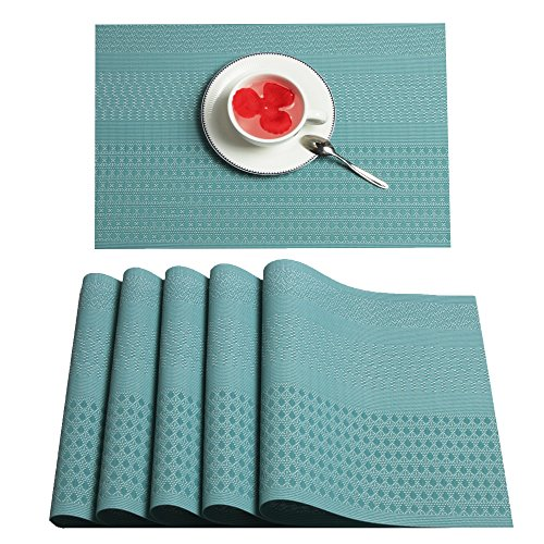Furnily PVC Place Mats for kitchen Table Set of 6 Heat Insulation Non Slip Plastic Dining Table Mats Crossweave Woven Placemats (Blue)