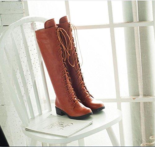 Ei&iLI Bottes pour dames chaudes PU ronde Toe talons lacets bottes d'hiver court , brown , 39