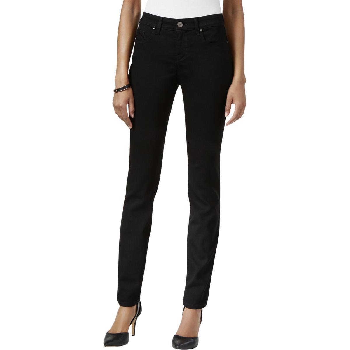 Style & Co. Womens Plus Black Wash Comfort Waist Skinny Jeans Black 14