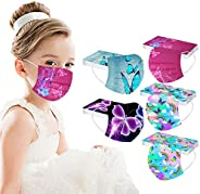 50 Pcs Kids Disposable Face Bandanas Butterfly,Children 3 Ply Cute Butterfly Printed Face Cover,Outdoor Dustpr