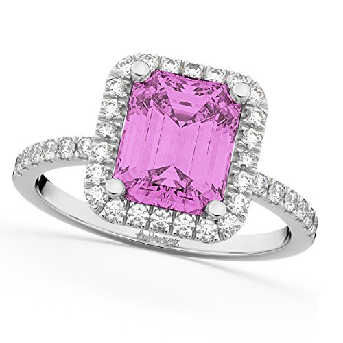 ((3.32ct) 14k White Gold Emerald Cut Pink Sapphire with Diamonds Engagement Ring)