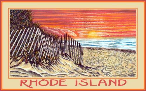 Northwest Art Mall Rhode Island Beach Sunrise by David Linton Wall Decor, 11-Inch by - Rhode Island Malls In