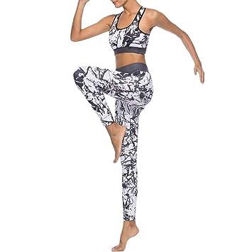 CYJJJK Pantalones de Yoga Mujeres Set de Yoga Splice Running Set ...