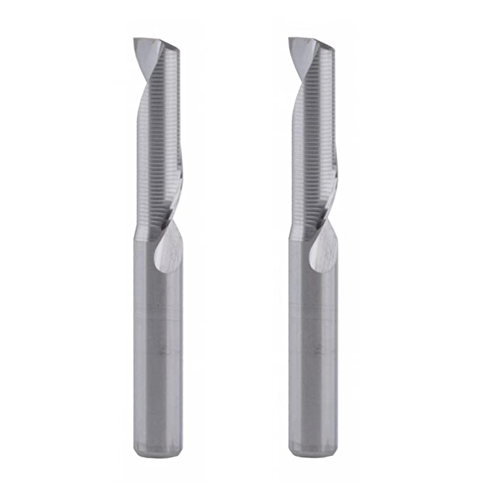 EU/_HOZLY 3.175x2.0x6mm Single Flute Milling Cutters for Aluminum CNC Tools Solid Carbide Pack of 5