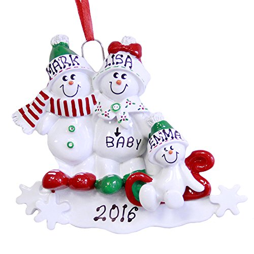 Family of 3 We're Expecting Snowmen Personalized Christmas Ornament-pregnant (Expectant Mother Ornaments Christmas)