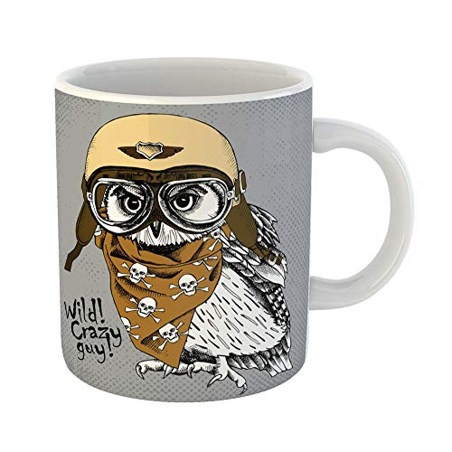 Emvency Coffee Tea Mug Gift 11 Ounces Funny Ceramic Portrait of Owl Wearing Retro Motorcyclist Helmet and Neckerchief Images Skull Gifts For Family Friends Coworkers Boss Mug