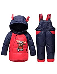 Genda 2Archer Baby Boys Girls Winter Hooded Down Jacket Snowsuit Bib Pants Set