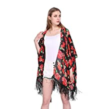 Women's Floral Aztec Leopard Light Chiffon Beachwear Cover up Kimono Cardigan Outfit