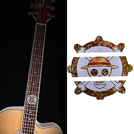 Marcadores de diapasón forma incrustaciones de vinilo pirata dodoskinz para guitarra acústica y guitarra eléctrica, color dorado: Amazon.es: Instrumentos ...