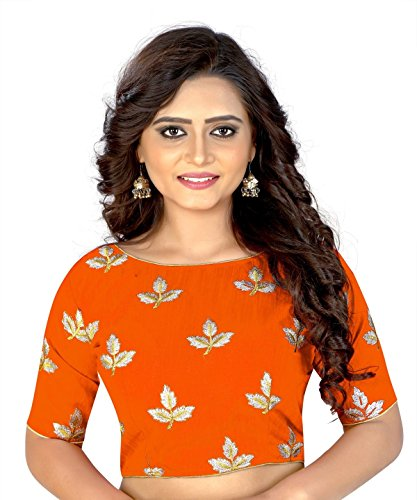 (Hiral Designer Women's Free Size Ready Made Saree Blouse Party Wear Work: Embroidery Work. Type: choli Design: Mapple Multi Color Collection. (ORANGE))