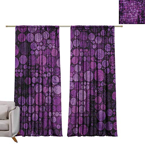 berrly Shades Window Treatment Valances Curtains Indigo,Retro Style Vintage 60s 70s Inspired Dots Circles on Grunge Backdrop, Eggplant Purple and Lilac W72 x L108 Thermal Insulated Blackout Curtains (Valance Dot Circle)