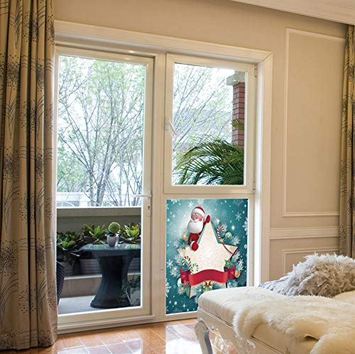 (YOLIYANA Vinyl Non Adhesive Privacy Film,Christmas Decorations,for Any Places: Kitchen, Bedroom,Santa Star Banner Snowflakes Ribbon and Candy Cane,17''x24'')