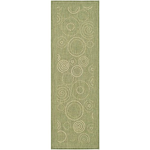 Safavieh Courtyard Collection CY1906-1E06 Olive and Natural Indoor/Outdoor Runner (2'3