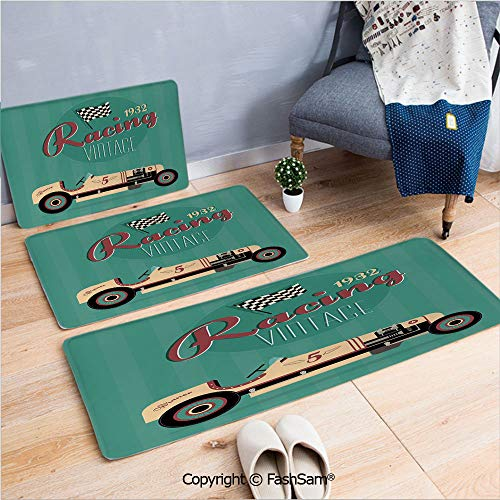 3 Piece Flannel Bath Carpet Non Slip Poster Print of a Classic Vintage Automobile Nostalgia Rally Antique Machine Front Door Mats Rugs for Home(W15.7xL23.6 by W19.6xL31.5 by W35.4xL62.9) ()