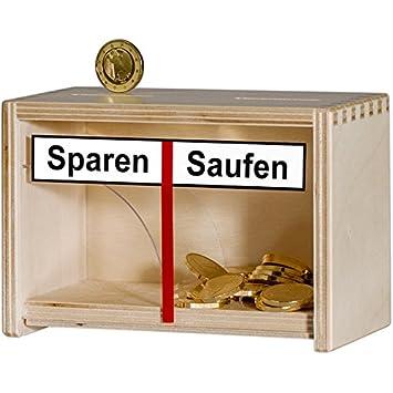 Lustige Spardose Sparen Saufen Aus Holz In Braun Geld Rutscht