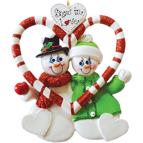 Personalized Candy Cane Love Christmas Tree Ornament 2019 - Cute Snowman Couple Winter Hat Our 1st Gift Romantic First Propose Red Glitter Sweet-Heart Year - Free Customization -
