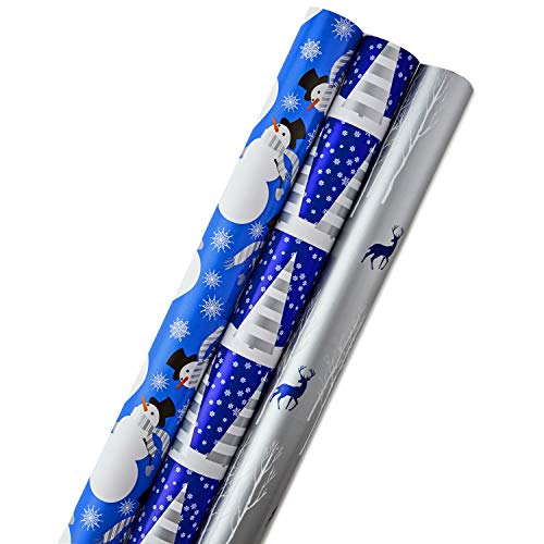 Hallmark Reversible Christmas Wrapping Paper Bundle, Blue and White (Pack of 3, 120 sq. ft. ttl.) (Wrap Gift Stripe Christmas)