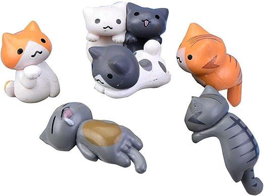 Ccgdgft 6pcs / Set DIY del Gato del jardín Miniatura Dibujos Animados de Animales Estatua del jardín del Paisaje de Cristal Decoración Musgo pequeña Figura: Amazon.es: Productos para mascotas
