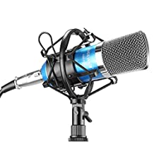 Neewer® NW-700 Professional Studio Broadcasting & Recording Condenser Microphone Set Including: (1)NW-700 Condenser Microphone + (1)Metal Microphone Shock Mount + (1)Ball-type Anti-wind Foam Cap + (1)Microphone Audio Cable (Blue)