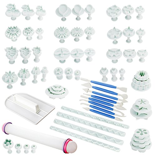 Fu Store 21 Sets (68pcs) Blue Cake Decration Tool Set By Catalina Fondant Cake Cutter Mold Sugarcraft Icing Decorating Flower Modelling Tools (Blue)