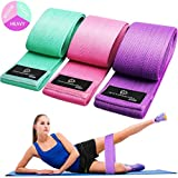 Exercise Resistance Bands for Legs and Butt, Anti-Slip & Roll Workout Booty Bands for Women Squat Glute Hip Training, 3 Levels Sports Fitness Band -JUEYINGBAILI