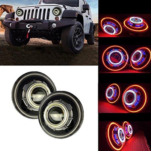 SXMA 7 Inch LED Headlights,LED Projector Headlights with Halo, Angel Eye, Demon Eye Headlights for Jeep Wrangler CJ LJ TJ JK Rubicon Sahara Hummer ( Angel Eye Headlights - C)