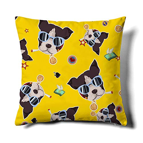 Happy Memories Decor Throw Pillow Cushion Cover, Classic Cashew Floral,Double Leopard Pattern,Floral Inspired Design and Cactus, Decorative Square Accent Pillow Case 1PCS (Yellow Background Dog) - Cashew Dog Bed