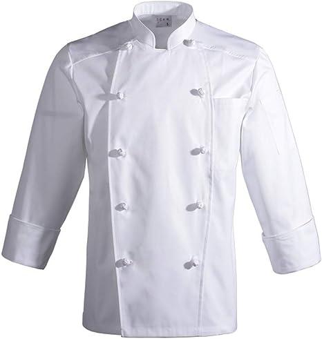 Best 4U Servicio de Alimentos Camisa de Manga Larga Camisa Blanca de Doble Botonadura Cocinero Restaurante Ropa de Trabajo Hombres cocinan Uniforme Profesional,XXL: Amazon.es: Deportes y aire libre