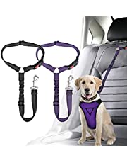 Corooci Dog Seat Belt, 2 Pack Pet Car Headrest Restraint Adjustable Puppy Seatbelt,Dog Vehicle Nylon Fabric Reflective Elastic Bungee Connect Pet Safety Seat Belts,Retractable Cat Dog Universal Car Seats Seat-Belt (Black+Purple)