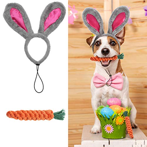 Blulu Easter Pet Headband Easter Rabbit Ear Headband and Cotton Chewing Rope Easter Carrot Rope for Large Dogs Pet Supplies, 2 Pieces from Blulu