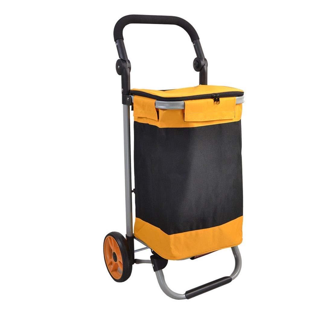 IRVING 送料0円 軽量のショッピングトロリー ストア 丈夫で簡単な収納のための折りたたみ式 Black+orange B07RPRCBGX