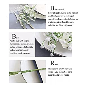 LYLYFAN 12 Pcs Babys Breath Artificial Flowers, Gypsophila Real Touch Flowers for Wedding Party Home Garden Decoration 4