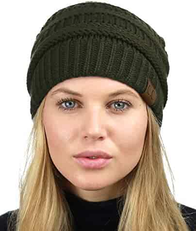 b0cf2104146 C.C Unisex Chunky Soft Stretch Cable Knit Warm Fuzzy Lined Skully Beanie