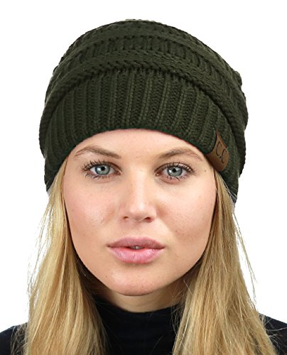 (C.C Unisex Chunky Soft Stretch Cable Knit Warm Fuzzy Lined Skully Beanie, Dark Olive)