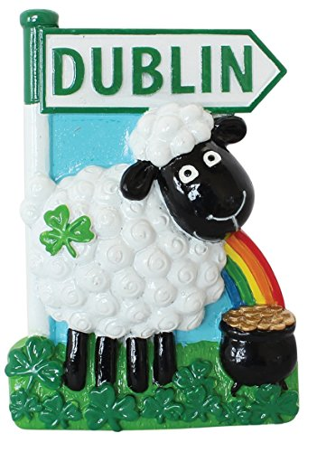 Resin Magnet with Irish Sheep with Rainbow, Pot of Gold and Dublin Sign ()