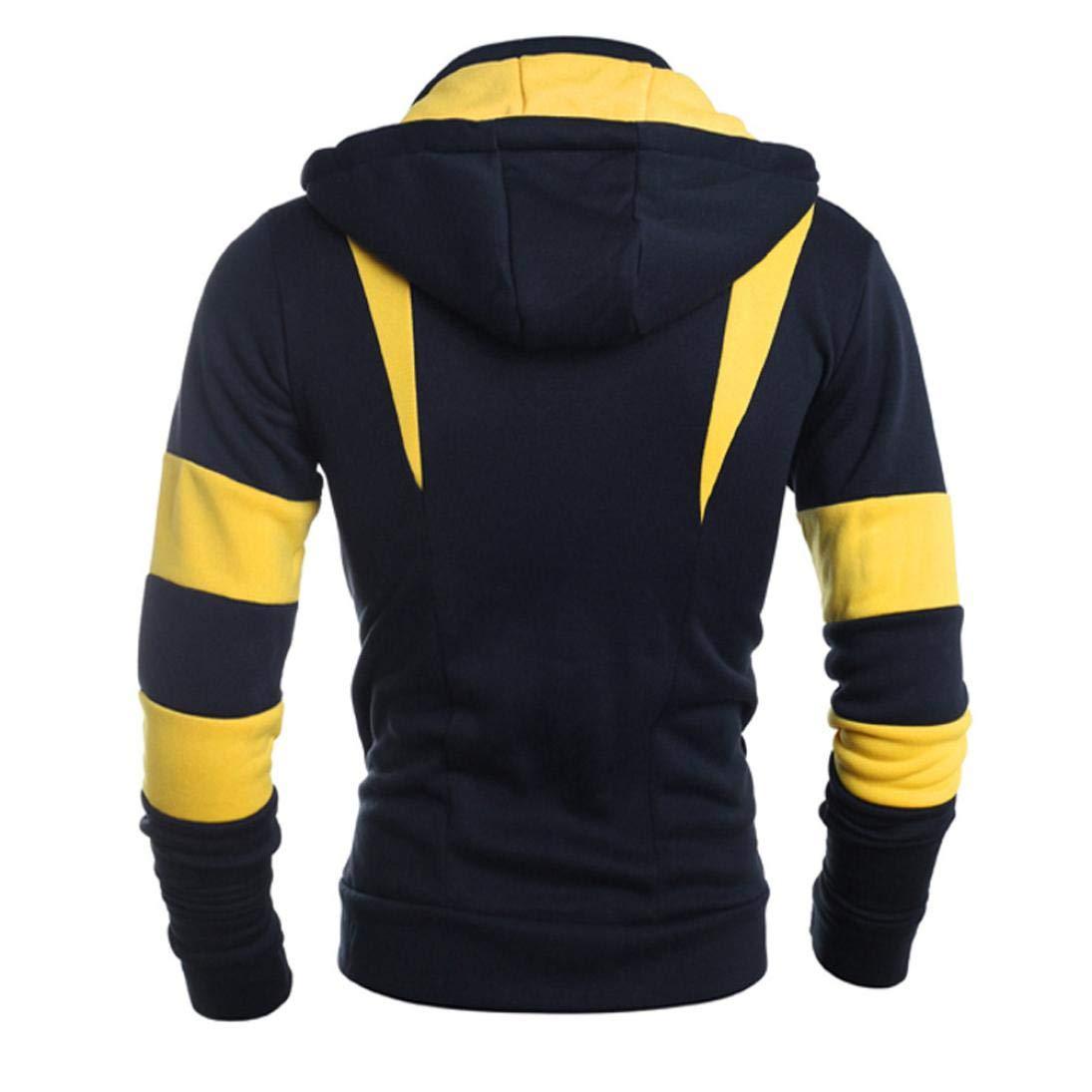 Danhjin Retro Long Sleeve Hoodie Hooded Patchwork Sweatshirt Tops Men Jacket Coat Outwear Outdoor Pullover (Yellow, XXL) by Danhjin (Image #3)