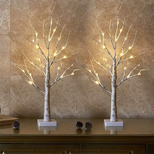 Vanthylit 2FT 24LT Prelit White Birch Tree Decorative Light Tabletop2PC