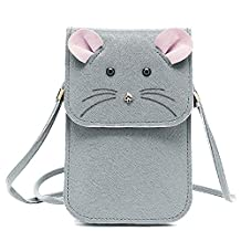 Universal Multipurpose Cute 3D Grey Mouse Design Synthetic Leather Wallet Crossbody Cell Phone Bag Mini Pouch for iPhone 6/6S,6Plus/6S Plus,Note 5,Note 4,Galaxy S7,S7 Edge