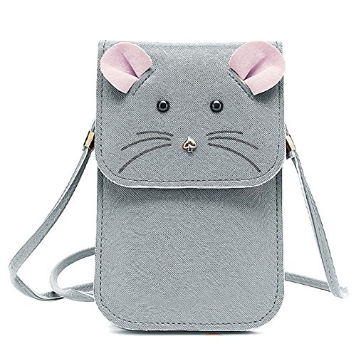 Mouse Purse (Universal Multipurpose Cute 3D Grey Mouse Design Synthetic Leather Wallet Crossbody Cell Phone Bag Mini Pouch for iPhone 6/6S,6Plus/6S Plus,Note 5,Note 4,Galaxy S7,S7)