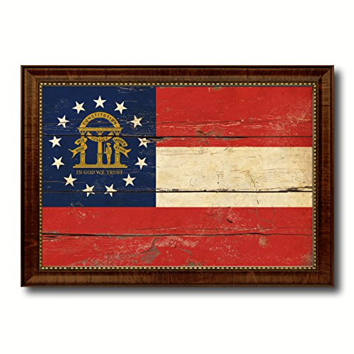 (Georgia State Flag Vintage Canvas Print with Brown Picture Frame Home Decor Wall Art Decoration Gifts, 19