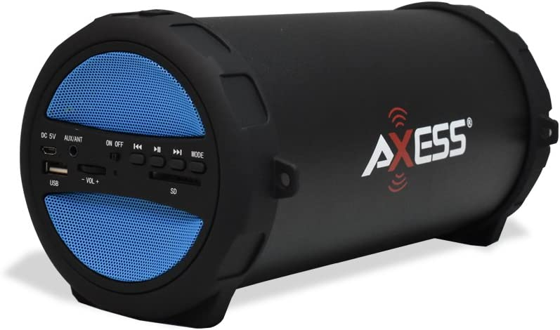 AXESS SPBT1041 Portable Thunder Sonic Bluetooth Cylinder Loud Speaker with Built-In FM Radio, SD Card, USB, AUX Inputs in Blue