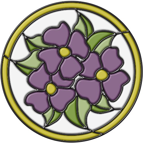 Brewster 99441 Peel & Stick Pansy Medallion Stained Glass Appliqué, Amethyst