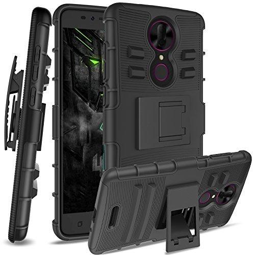 Coolpad Revvl Plus Case,Revvl Plus(T-Mobile)[Not Fit Alcatel Revvl],Anoke Rugged Shockproof [Belt Clip Holster] with Defender Full Body Heavy Duty Protective Phone Cases for Revvl Plus HT Black