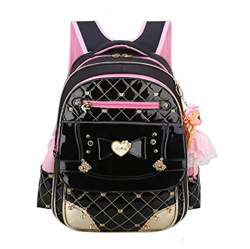 - EURO SKY Children School Backpack Bags for Girls Students PU Leather Z-Black S