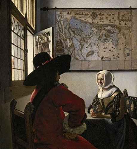 The High Quality Polyster Canvas Of Oil Painting 'Johannes Vermeer - Officer And Laughing Girl, C. 1657' ,size: 24x26 Inch / 61x66 Cm ,this Replica Art DecorativePrints On Canvas Is Fit For Basement Decor And Home Artwork And Gifts