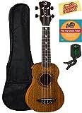 Luna Vintage Mahogany Soprano Acoustic-Electric Ukulele Bundle with Gig Bag, Tuner, Austin Bazaar Instructional DVD, and Polishing Cloth